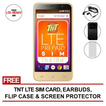 SKK Mobile Rush Pixie 150MB (Gold) with FREE LTE tnt sim, Flip Cover Case, Jelly Case and Screen Protector