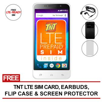 SKK Mobile Rush Pixie 150MB (White) with FREE LTE tnt sim, Flip Cover Case/Jelly Case/Screen Protector/Earbuds/