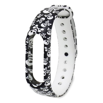 Skull Pattern Replacement TPU Wrist Band for Xiaomi MI Band 2 -intl