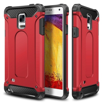 Slim Fit Rugged Hybrid Dual Layer Hard Shell Armor Protective BackCase Shockproof Cover for Samsung Galaxy Note 4 - intl