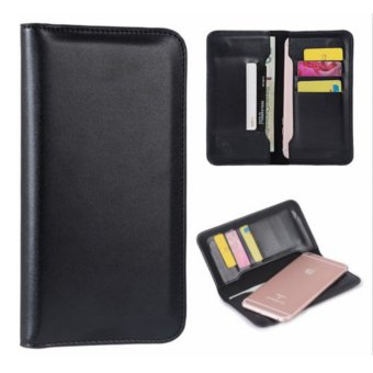 "Slim Leather Wallet Case With Card Holder For 5.5""-6.9"" MobilePhones (Black) Price Philippines"