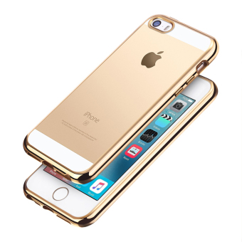 Slim TPU Clear Soft Case w/ Chrome Bumper for Apple iPhone SE / 5S/ 5 (Gold)