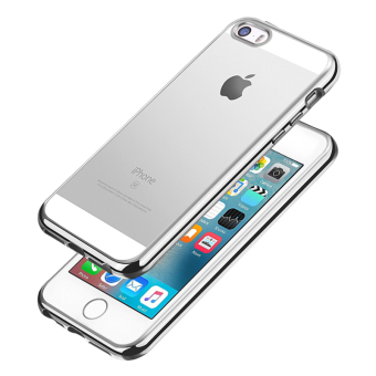 Slim TPU Clear Soft Case w/ Chrome Bumper for Apple iPhone SE / 5S/ 5 (Silver)