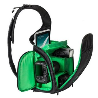 Sling Camera Bag Waterproof DSLR Case for Canon for Nikon for Sony (Green)
