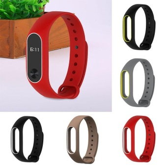 SMART Silicone Wrist Strap Wrist Bands Bracelet Replacement For Xiaomi Mi Band 2 - intl