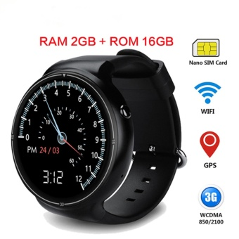 Smart Watch 1.39 inch Display MTK6580 Quad Core Android 5.1 RAM 2 GB + 16 GB ROM 3G Wifi GPS Bluetooth Heart Rate Monitor for Android iOS Smartphone - intl