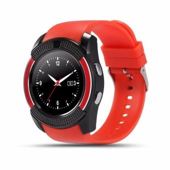Smart Watch V8 Clock Sync Notifier Support Sim Card BluetoothConnectivity (red)