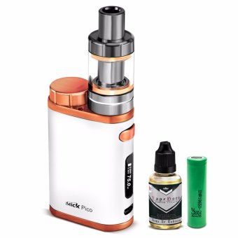 Smoke iStick Pico 75W Starter Kit Vape Cigarette (White/Bronze) with Vapeboro Premium Quality E-Juice 30ml (Flavor May Vary) & LHR Shrek 2500mAh or 2600mah INR18650 Battery