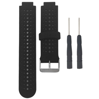 Soft Silicone Replacement Watchband Band Bracelet Wrist Strap withMetal Buckle for Garmin Forerunner 220 230 235 620 630 Black+White