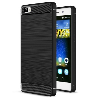 Soft TPU Shock Absorption and Carbon Fiber Design Silicone Case for Huawei P8 Lite (2015) - intl