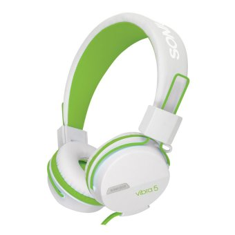 SonicGear Vibra 5 103dB Long Wear Comforts and Supreme Bass Stereo Headset with Mic (White/Green)