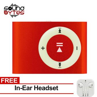 Sound Bytes Mini Metal Clip MP3 Player (Red) with FREE In-Ear Headset