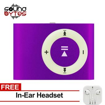 Sound Bytes Mini Metal Clip MP3 Player (Violet) with FREE In-Ear Headset