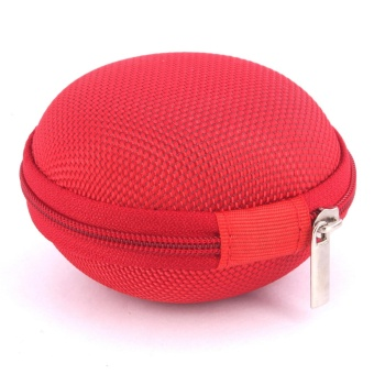 Sound Bytes Mini Round Storage Case Bag For Earphone Headphone(Red)