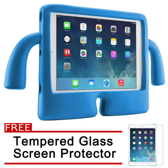 Speck Kids Products iGuy Protective Shockproof Case for Apple iPadAir / Air 2 / iPad 5 / iPad 6 (Blue) with Free Tempered GlassScreen Protector