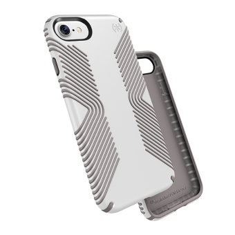 Speck Presidio Grip Phone Case for iPhone 7 (White/Ash Grey)