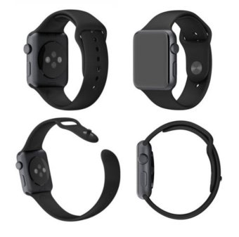 Sport Silicone Bracelet Strap Band For Apple Watch iwatch 38mm(Black) - Intl - 5
