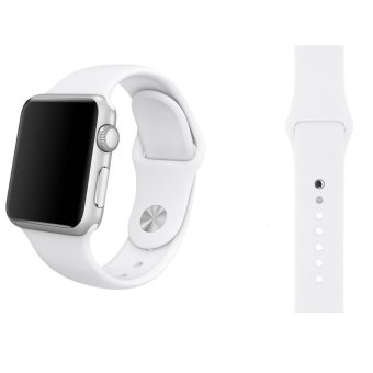 Sports Soft Silicone Watch Band Strap With Connector Adapter For Apple Watch 38mm Replace Bracelet Strap for iWatch(White) - intl