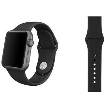 Sports Soft Silicone Watch Band Strap With Connector Adapter ForApple Watch 42mm Replace Bracelet Strap for iWatch (Black) - intl