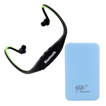 Sports Stereo Bluetooth Headphone With Mic (Black/Apple Green) With Adamas AAA 5000mah Super Thin Mobile Power Bank (Blue)