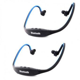 Sports Stereo Bluetooth Headphone with Mic (Black/Blue) Set of 2