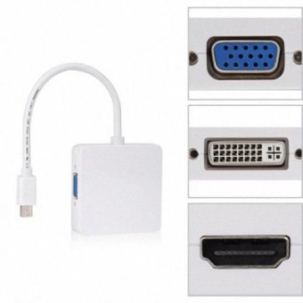 Square Mini DP Displayport Thunderbolt to DVI VGA HDMI HDTV Adapter3 in1 for Apple MacBook Air Pro iMac