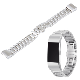 Stainless Steel Bracelet Band Loop Strap For Fitbit Charge 2 Watch(Silver) - intl