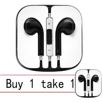 Stereo Earphones for iPhone samsung (Black) Buy 1 Take 1