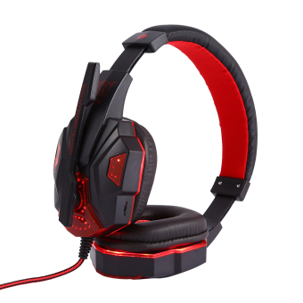 Stereo Gaming Headphone with Mic Wired Headsets with LED LightNoise Cancelling Headphone (Red) - intl - 4