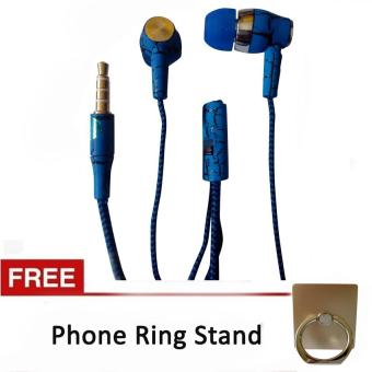 Stereo Sport Earphone/Headset with Mic for Meizu (Blue) with FreePhone Ring Stand (Gold) Price Philippines