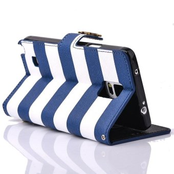 Stripes Anchor Rudder Wallet Case Cover For Samsung Galaxy Note 4Blue - intl - 2