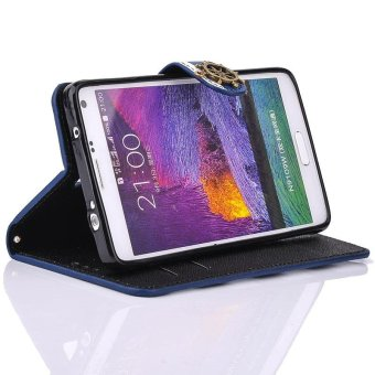 Stripes Anchor Rudder Wallet Case Cover For Samsung Galaxy Note 4Blue - intl - 4