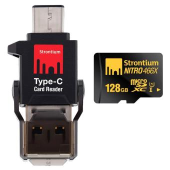 Strontium 128gb Micro SDXC with Type C Card reader class 10 70mbps