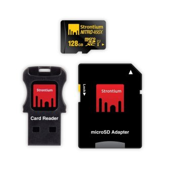 Strontium Nitro 128GB 466x Micro SD Card with Adapter and CardReader