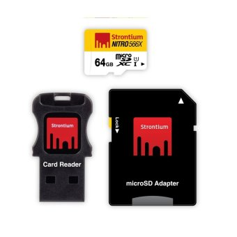 Strontium Nitro 64GB 566x Micro SD Card with Adapter and CardReader