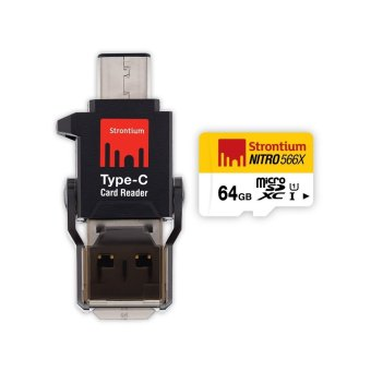 Strontium Nitro 64GB 566x Micro SD Card with C-Type Card Reader