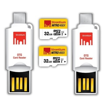 Strontium Nitro Class 10 32GB Micro SD Card with OTG Reader Set of2