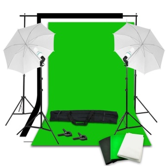 Studio Backdrop Umbrella Lighting Light Kit + Background SupportStand - intl