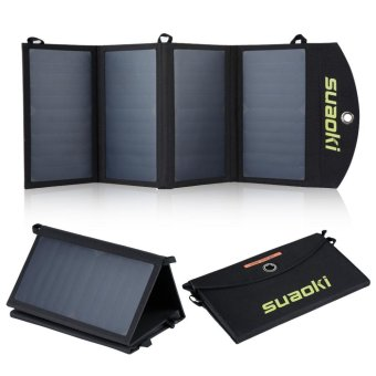 Suaoki 25W Quadruple Solar Panel Charger High Efficiency Dual-Port Portable Foldable Charger(Black) - intl