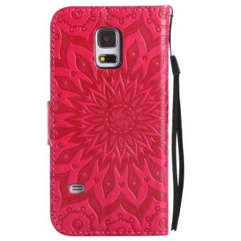 Sunflower Emboss Flip Leather Back Cover Cases With Stand Card Slotfor Samsung Galaxy S5 mini - intl - 3