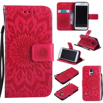 Sunflower Emboss Flip Leather Back Cover Cases With Stand Card Slotfor Samsung Galaxy S5 mini - intl