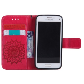 Sunflower Emboss Flip Leather Back Cover Cases With Stand Card Slotfor Samsung Galaxy S5 mini - intl - 4