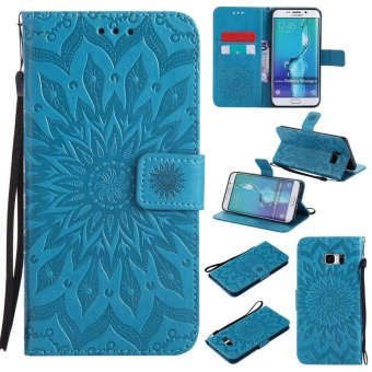 Sunflower pattern PU Leather Wallet Stand Flip Case Cover For Samsung Galaxy S6 Edge Plus Case - intl