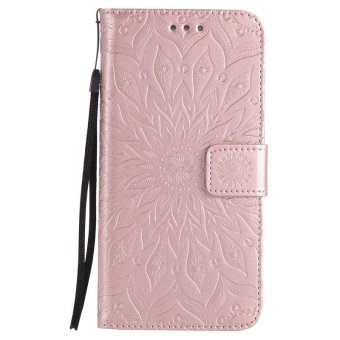 Sunflower pattern PU Leather Wallet Stand Flip Case Cover ForSamsung Galaxy S6 Edge Plus Case - intl - 2