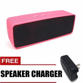 Sunsonic Portable Bluetooth Dual Speakers Ultra Bass (Pink) withFREE Speaker Charger