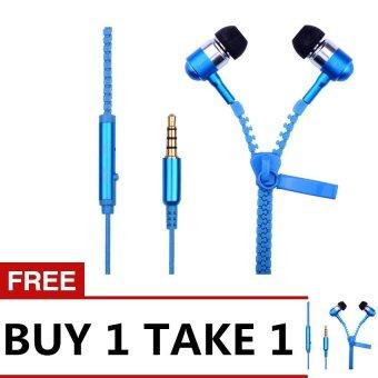 Super Bass Zipper In-Ear Earphone (Blue) BUY 1 TAKE 1