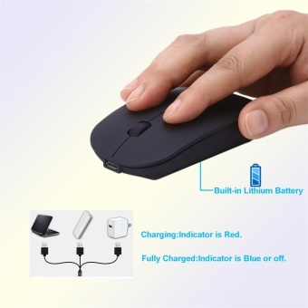 Super Slim Rechargeable 2.4G Wireless Mouse For PC And Laptop AndAndroid - intl - 2