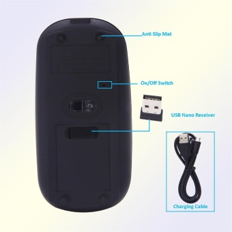 Super Slim Rechargeable 2.4G Wireless Mouse For PC And Laptop AndAndroid - intl