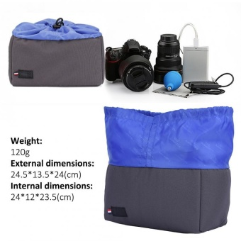 Sweatbuy Insert Partition Shockproof Padded Camera Bag ProtectionCase For DSLR Camera(Gray+Blue) - intl