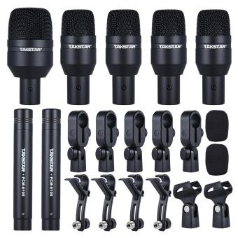 TAKSTAR DMS-D7 Professional Musical Instruments Drum Set Wired Microphone Mic Kit with Standard Mounting Accessories Aluminum Carrying Case 1 Big Drum Microphone 4 Small Drum Microphones 2 Condenser Microphones Outdoorfree - intl